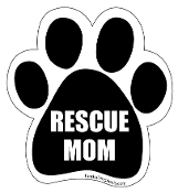 Rescue Mom Paw Print Magnet - Black