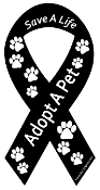 Save a Life Adopt a Pet Ribbon Magnet - Black