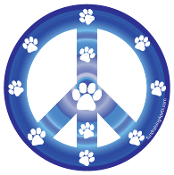 Peace Sign Circle Magnet - Blue