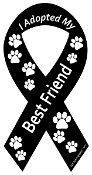 I Adopted My Best Friend Ribbon Magnet - Black