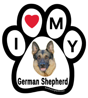 I Love My German Shepherd Paw Print Magnet - NEW!