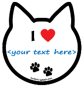 """I ♥ <......>"" Cat Head Magnet - create your own! *NEW*"