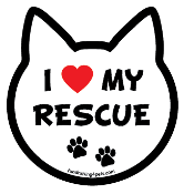I Love My Rescue cat head magnet - NEW!