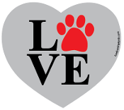 Love Paw Heart Magnet - Gray *NEW*