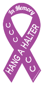 Hang A Halter In Memory ribbon magnet - purple/white *NEW*