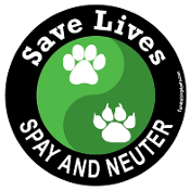 Save Lives Spay and Neuter circle magnet - black/green