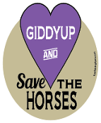 Giddyup And Save The Horses hoof magnet - purple *NEW*