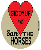 Giddyup And Save The Horses hoof magnet - red *NEW*