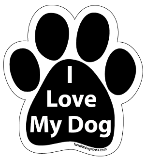 I Love My Dog paw magnet - black *NEW*