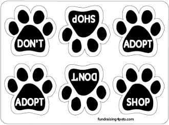 Don't Shop Adopt / Adopt Don't Shop Mini Paw Magnets 6pk - NEW!
