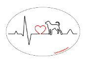 Heartbeat oval magnet - Dog *NEW*