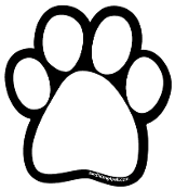 Plain White Paw Print Magnet with black background *NEW*