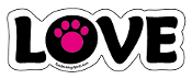 LOVE word magnet - Hot Pink accent paw *NEW*