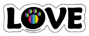 LOVE word magnet - Rainbow accent paw *NEW*