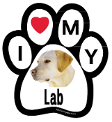 I Love My Lab Paw Print Magnet - NEW!