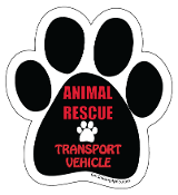 Animal Rescue Transport Vehicle paw print magnet - black