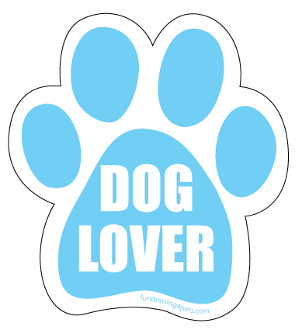 Dog Lover Paw Print Magnet- Blue