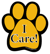 I Care Paw Print Magnet- Gold