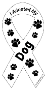 I Adopted My Dog Ribbon Magnet