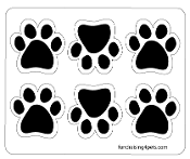 Mini Paw Magnets 6pk - Black