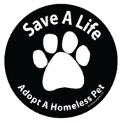 Save a Life Adopt a Homeless Pet circle - black *bargain bin*
