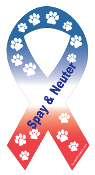 Spay & Neuter Ribbon Magnet - Red/White/Blue