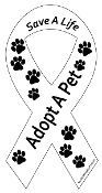 Save a Life Adopt a Pet Ribbon Magnet - White