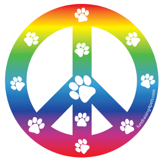 Peace Sign Circle Magnet - Rainbow