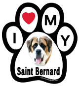 I Love My Saint Bernard Paw Print Magnet - NEW!