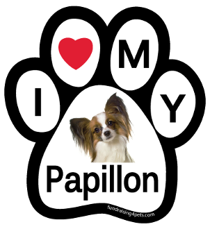 I Love My Papillon Paw Print Magnet - NEW!