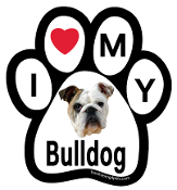 I Love My Bulldog Paw Print Magnet - NEW!