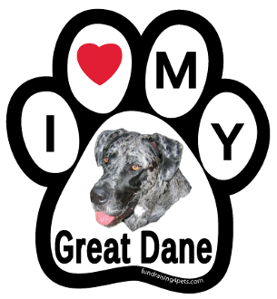 I Love My Great Dane Paw Print Magnet - NEW!