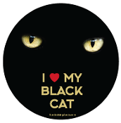 I Love My Black Cat circle magnet (eyes) *bargain bin*