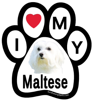 I Love My Maltese Paw Print Magnet - NEW!