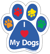 I Love My Dogs Paw Print Magnet - blue/multi