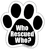 Who Rescued Who Paw Magnet - Black/White w/solid black toes NEW!