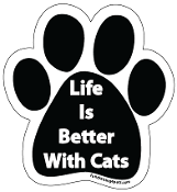 Life Is Better With Cats Paw Print Magnet - NEW!