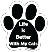 Life Is Better With My Cats Paw Print Magnet - NEW!