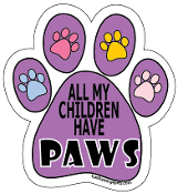 All My Children Have Paws Paw Print Magnet -purple *bargain bin*