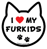I Love My Furkids cat head magnet - NEW!
