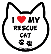 I Love My Rescue Cat cat head magnet - NEW!