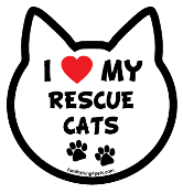 I Love My Rescue Cats cat head magnet - NEW!