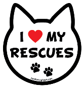 I Love My Rescues cat head magnet - NEW!