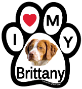 I Love My Brittany Paw Print Magnet - NEW!