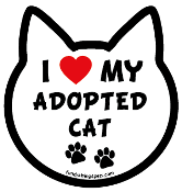 I Love My Adopted Cat cat head magnet - NEW!