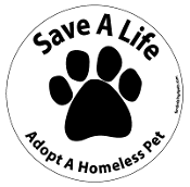 Save a Life Adopt a Homeless Pet circle - white *bargain bin*