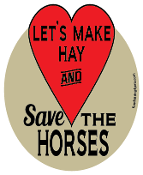 Let's Make Hay And Save The Horses hoof magnet - red *NEW*