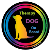 Therapy Dog On Board Circle Magnet - Black