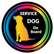 Service Dog On Board Circle Magnet - Black *bargain bin*