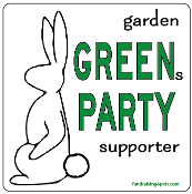 Garden GREENs PARTY Supporter square magnet - NEW!